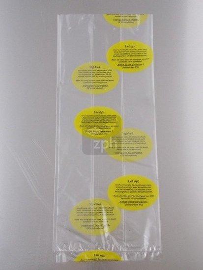 Plastic zakken voor kip met waarschuwingstekst