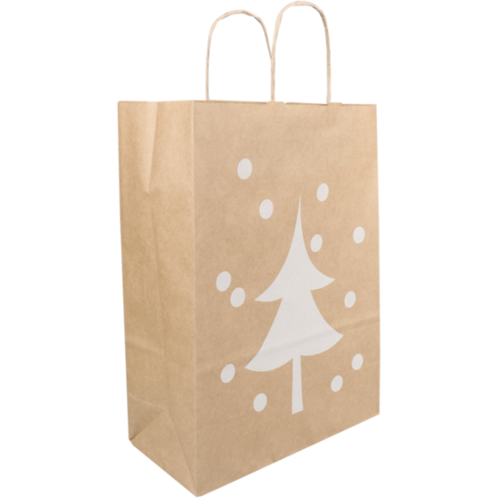 Kersttassen kraft papier 26x12x35cm