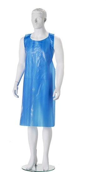 Wegwerp schorten plastic blauw 50mu