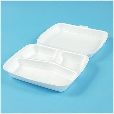 Maaltijdboxen 3-vaks foam wit