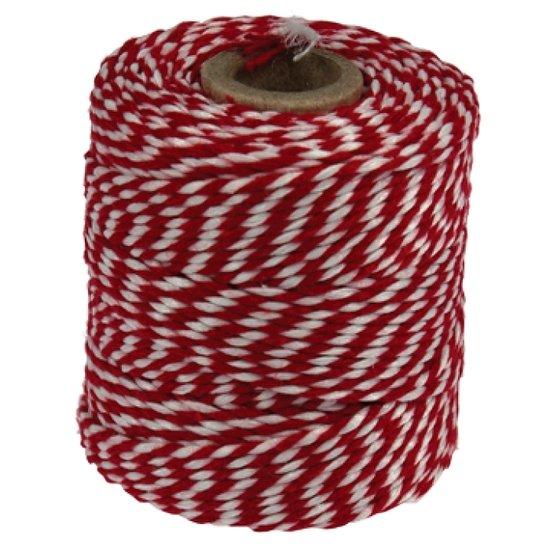 Rolladetouw rood-wit dunne klos ACTIE