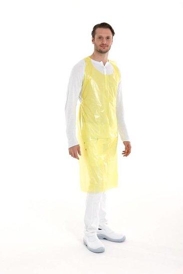 Wegwerp schorten plastic 20mu geel 100 stuks