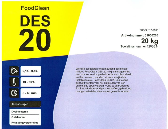 Foodclean DES20 spoel- en dompel desinfectiemiddel