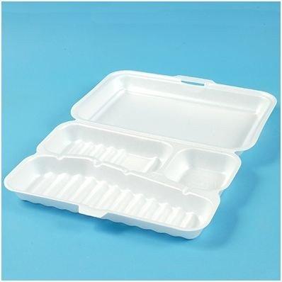 maaltijdboxen 3-vaks foam XL wit 180 stuks