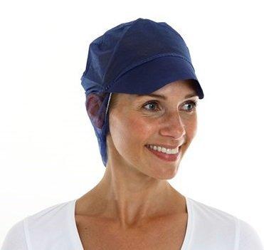 Pet met klep en non-woven haarnet blauw