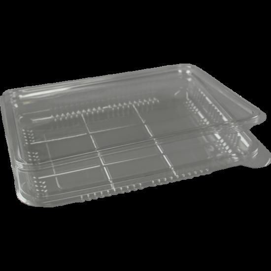 Vleeswarenschaaltjes plastic met klepdeksel 400ml (125x200mm)