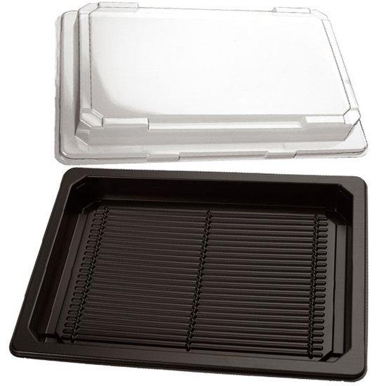 Sushi bakjes zwart 255x185mm met doorzichtige kap