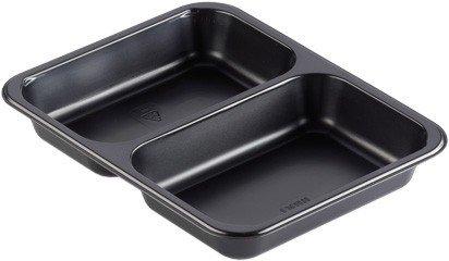 Maaltijdbakken 2-vaks zwart (227x178x40mm)