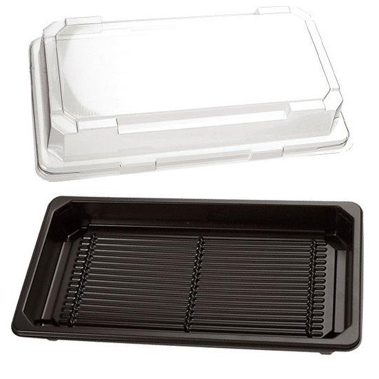 Sushi bakjes zwart 166x115mm met doorzichtige kap