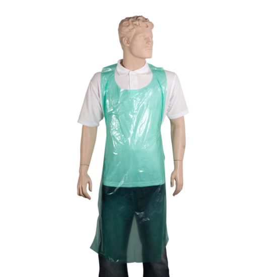 Wegwerp schorten plastic 20mu groen 100 stuks
