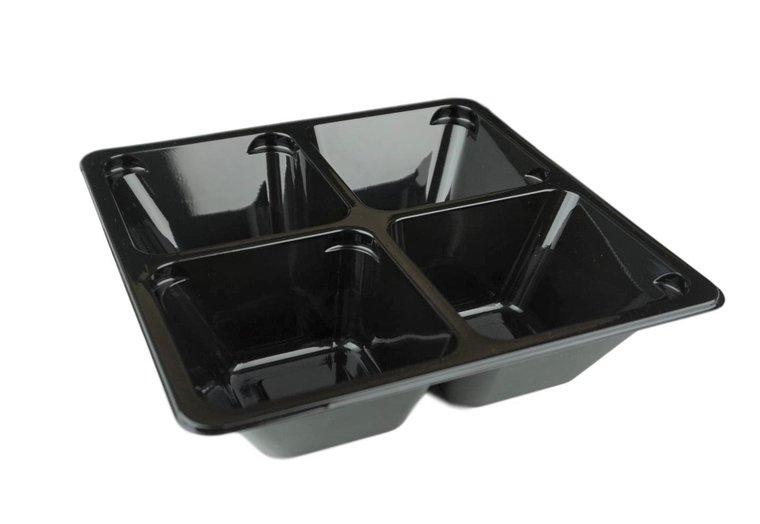 Tapas bakjes 4-vaks zwart