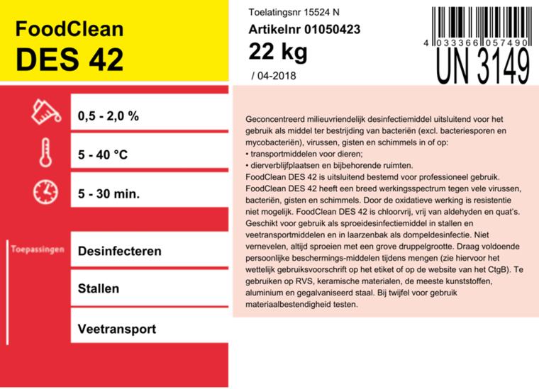 Foodclean DES42 desinfectiemiddel dierverblijfplaatsen