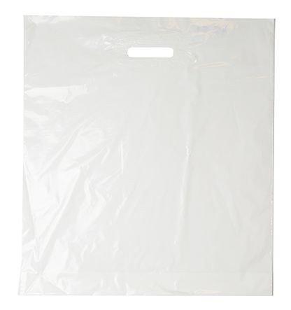 Plastic draagtassen wit 37x44cm
