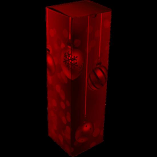 Wijndoos kerst Red 1 fles 95x95x330mm