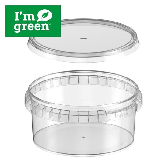 Plastic bakjes rond bio 350ml met verzegelbare deksel