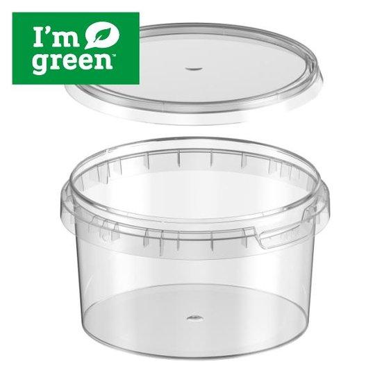 Plastic bakjes rond bio 480ml met verzegelbare deksel