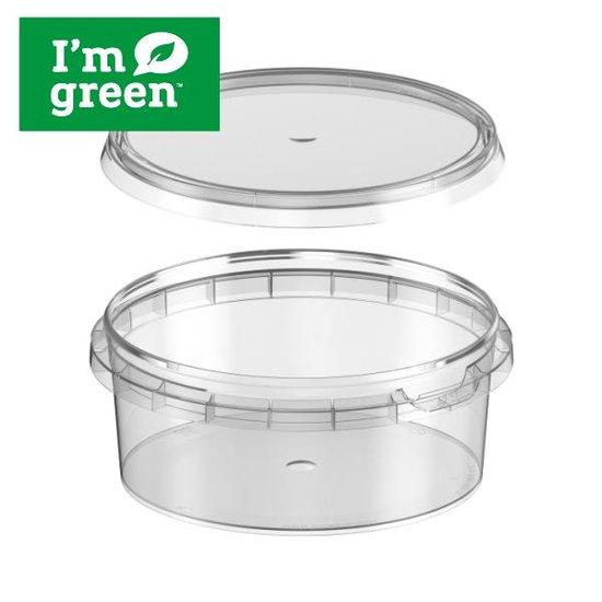 Plastic bakjes rond bio 300ml met verzegelbare deksel