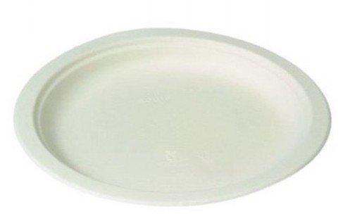 Suikerriet wegwerp borden wit 23cm 50 stuks
