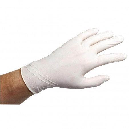 Latex wegwerphandschoenen wit gepoederd