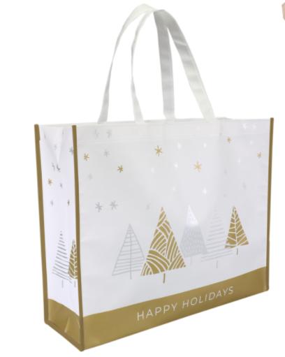 Kerst shopper draagtas Stars 45x15x36cm 10 stuks