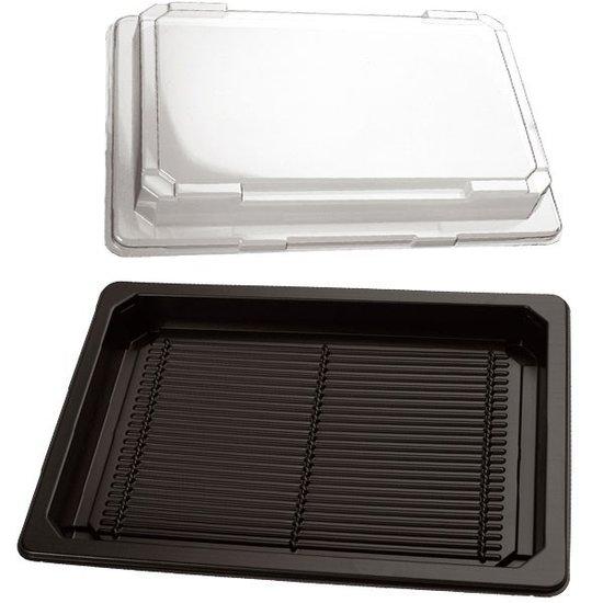 Sushi bakjes zwart 215x135mm met doorzichtige kap