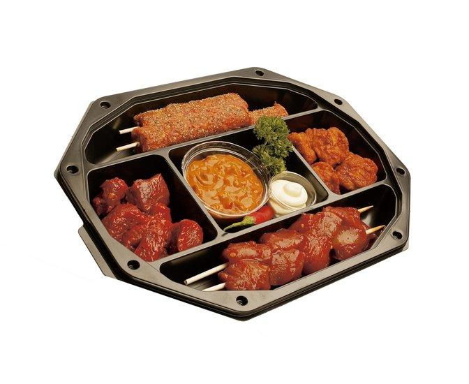 Catering schalen 335/250 5-vaks zwart