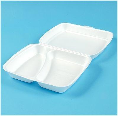 Maaltijdboxen 2-vaks foam wit 250 stuks