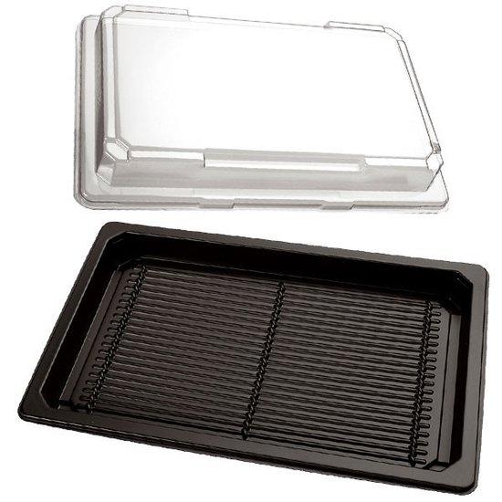 Sushi bakjes zwart 185x129mm met doorzichtige kap